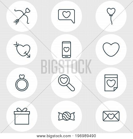 Editable Pack Of Lollipop, Decoration, Engagement And Other Elements.  Vector Illustration Of 12 Passion Icons.