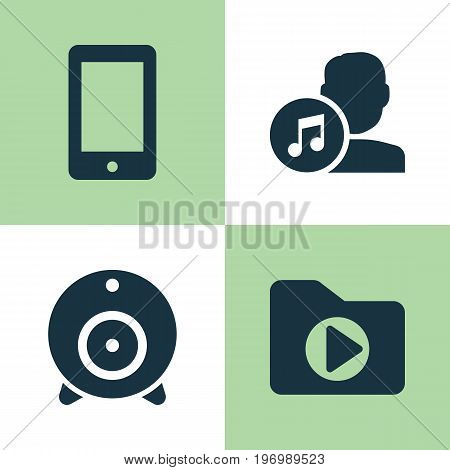 Music Icons Set. Collection Of Broadcast, Media Folder, Composer And Other Elements