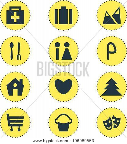 Editable Pack Of Briefcase, Toilet, Heart And Other Elements.  Vector Illustration Of 12 Map Icons.