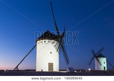 Windmill near Alcazar de San Juan at evening Castile region Spain