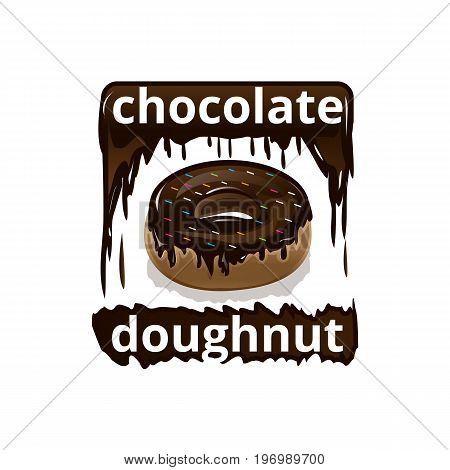 chocolate doughnut illustration, isolated on white background