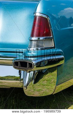 PAAREN IM GLIEN GERMANY - MAY 23 2015: Stoplight of a personal luxury car Lincoln Continental Mark II. The oldtimer show in MAFZ.
