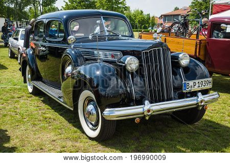 PAAREN IM GLIEN GERMANY - MAY 23 2015: Vintage car Packard Super Eight. The oldtimer show in MAFZ.
