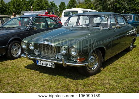 PAAREN IM GLIEN GERMANY - MAY 23 2015: Sports saloon Jaguar 420/Daimler Sovereign. The oldtimer show in MAFZ.