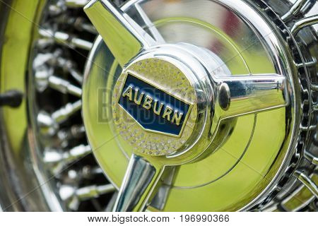 PAAREN IM GLIEN GERMANY - MAY 23 2015: Fragment of a wheel disk of a vintage car Auburn. The oldtimer show in MAFZ.