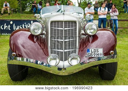 PAAREN IM GLIEN GERMANY - MAY 23 2015: Vintage car Auburn 852 Speedster. The oldtimer show in MAFZ.