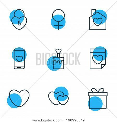 Editable Pack Of Gift, Soul, Valentine And Other Elements.  Vector Illustration Of 9 Passion Icons.