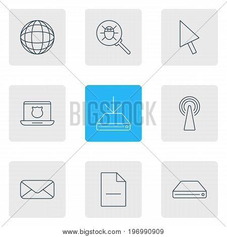 Editable Pack Of World, Letter, Secure Laptop And Other Elements.  Vector Illustration Of 9 Network Icons.