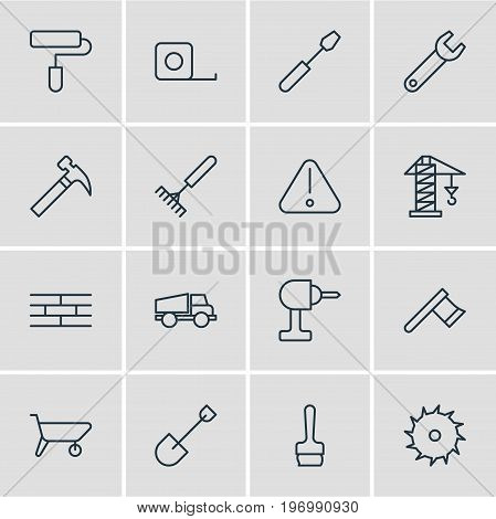 Editable Pack Of Roller, Spade, Handcart Elements.  Vector Illustration Of 16 Construction Icons.
