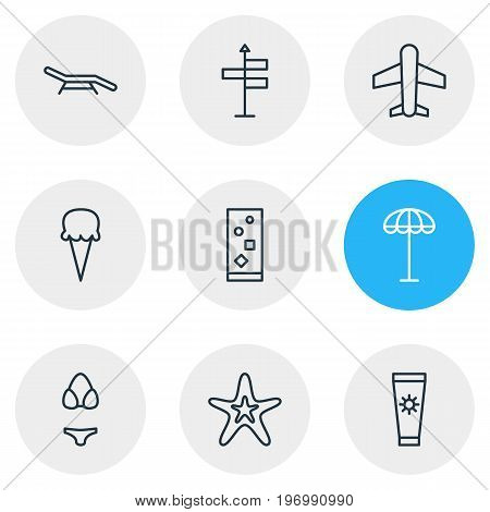 Editable Pack Of Longue, Guide, Fish And Other Elements.  Vector Illustration Of 9 Summer Icons.
