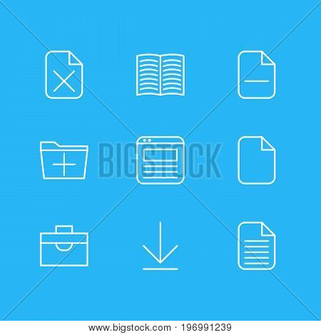 Editable Pack Of Minus, Blank, Remove And Other Elements.  Vector Illustration Of 9 Office Icons.