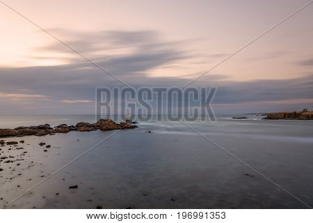 Sunrise at the lighthouse in Ahtopol Bulgaria at summer