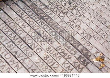 Wooden Bridge With Engraved Geographical Distances Of World Capitals From Istanbul Turkey To Bridget