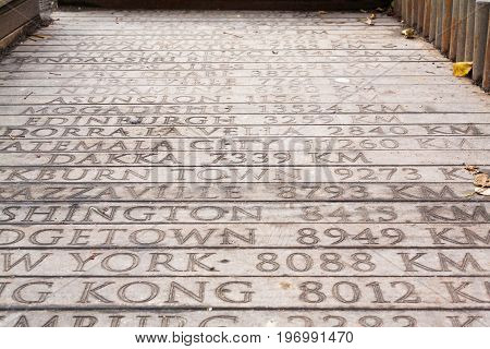 Wooden Bridge With Engraved Geographical Distances Of World Capitals From Istanbul Turkey To Dakka