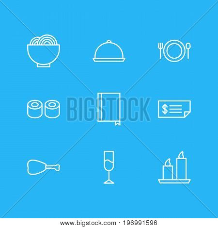 Editable Pack Of Wine, Leg, Food And Other Elements.  Vector Illustration Of 9 Restaurant Icons.