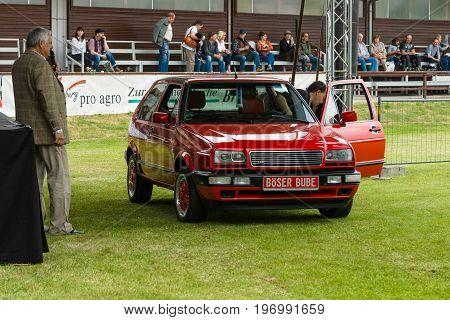 PAAREN IM GLIEN GERMANY - MAY 23 2015: Compact car Volkswagen Rallye Golf Mk2. The oldtimer show in MAFZ.