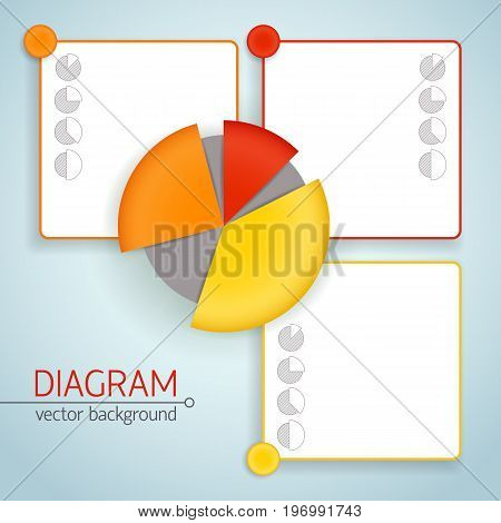 Business pie chart template with different colors isolated elementsand space for description of each item vector illustration