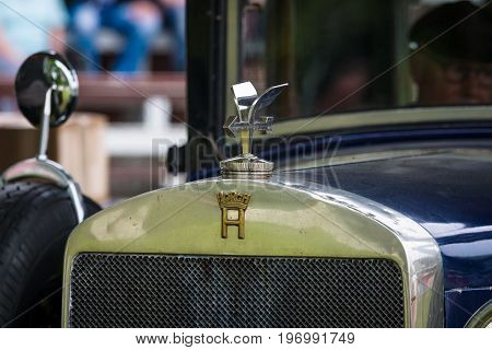 PAAREN IM GLIEN GERMANY - MAY 23 2015: Fragment of a vintage car Horch 8 Typ 303. The oldtimer show in MAFZ.
