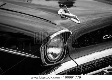 PAAREN IM GLIEN GERMANY - MAY 23 2015: Fragment of a full-size car Chevrolet Bel Air (Second generation). Black and white. The oldtimer show in MAFZ.