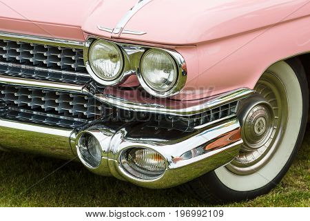 PAAREN IM GLIEN GERMANY - MAY 23 2015: Fragment of a full-size luxury car Cadillac de Ville series (First generation). The oldtimer show in MAFZ.