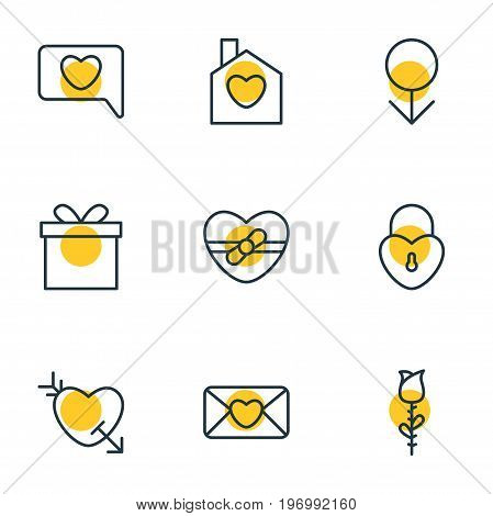 Editable Pack Of Rose, Invitation, Gift And Other Elements.  Vector Illustration Of 9 Love Icons.