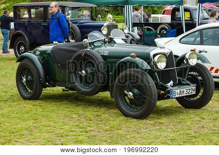 PAAREN IM GLIEN GERMANY - MAY 23 2015: Vintage sports car Riley 12/4 1936. The oldtimer show in MAFZ.