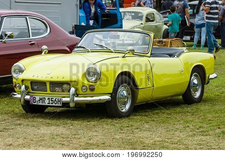PAAREN IM GLIEN GERMANY - MAY 23 2015: Sports car Triumph Spitfire 4 Mark I. The oldtimer show in MAFZ.