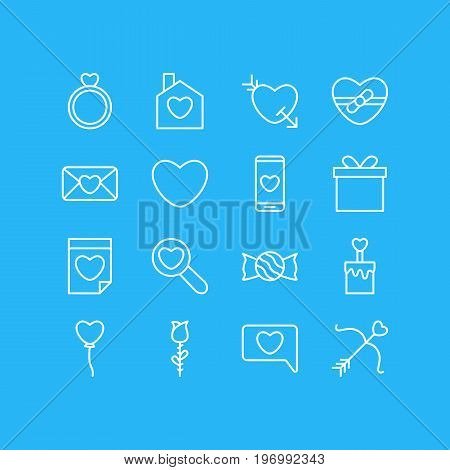 Editable Pack Of Valentine, Decoration, Lollipop And Other Elements.  Vector Illustration Of 16 Passion Icons.