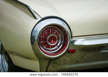 PAAREN IM GLIEN GERMANY - MAY 23 2015: Stoplight of a Ford Thunderbird Monaco 1963. The oldtimer show in MAFZ.