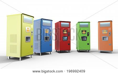 Colored Old Style Soda Machine Illustration 3D