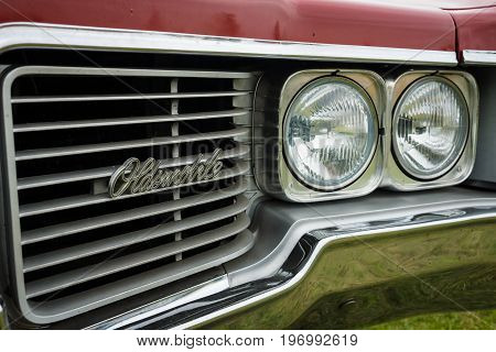 PAAREN IM GLIEN GERMANY - MAY 23 2015: Fragment of a full-size car Oldsmobile 88 Delmont 1968. The oldtimer show in MAFZ.