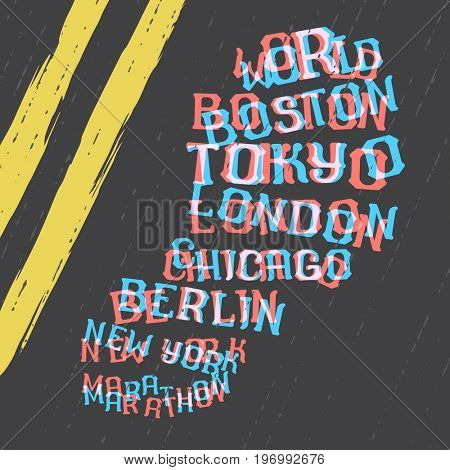 World marathon series retro poster with lettering foot step print on the road. Boston marathon running. Vintage custom typeface.