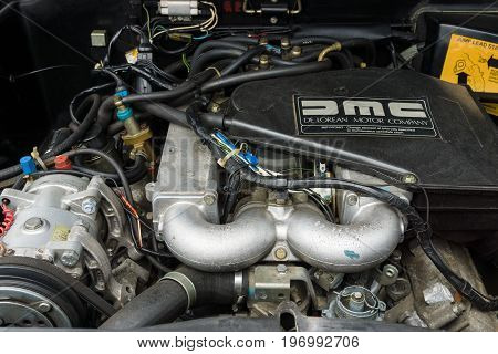 PAAREN IM GLIEN GERMANY - MAY 23 2015: Engine of a sports car DeLorean DMC-12. The oldtimer show in MAFZ.