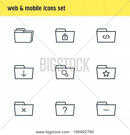 Editable Pack Of Question, Pinned, Folders And Other Elements.  Vector Illustration Of 9 Folder Icons.