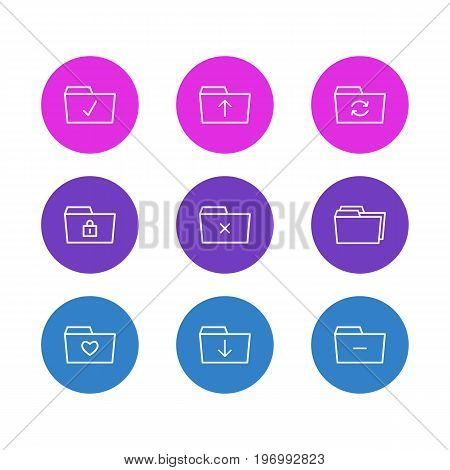 Editable Pack Of Done, Minus, Recovery And Other Elements.  Vector Illustration Of 9 Dossier Icons.