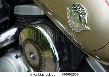 PAAREN IM GLIEN GERMANY - MAY 23 2015: Fragment of a motorcycle Kawasaki Vulcan Drifter. The oldtimer show in MAFZ.