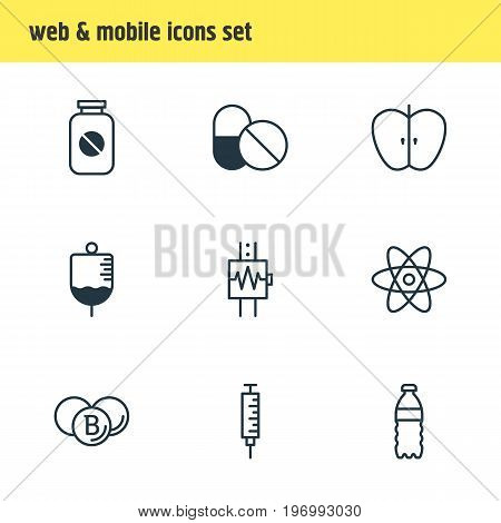 Editable Pack Of Fresh Fruit, Antibody, Plastic Bottle And Other Elements.  Vector Illustration Of 9 Medical Icons.