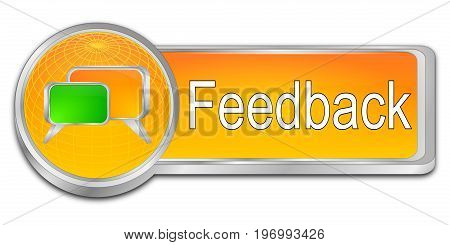 glossy orange Feedback button - 3D illustration