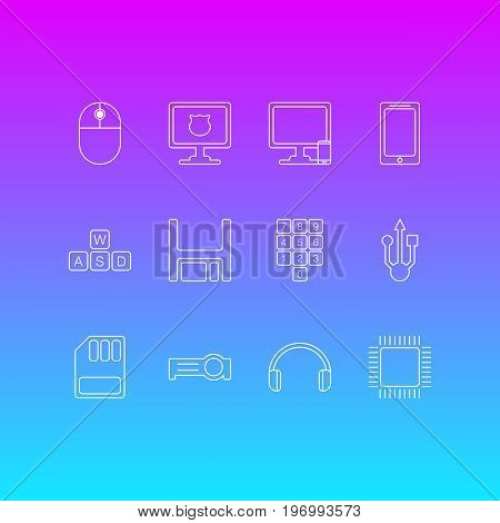 Editable Pack Of Usb Icon, Phone Near Computer, Diskette And Other Elements.  Vector Illustration Of 12 Notebook Icons.