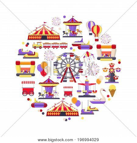 Amusement park icon set in circle shape. Concept design with a Ferris wheel, roller coaster, carousel,  circus and Etc. Vector illustration