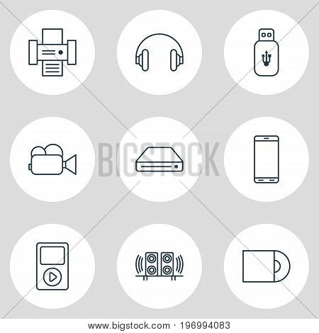 Editable Pack Of Photocopier, Loudspeaker, Dvd Drive And Other Elements.  Vector Illustration Of 9 Accessory Icons.