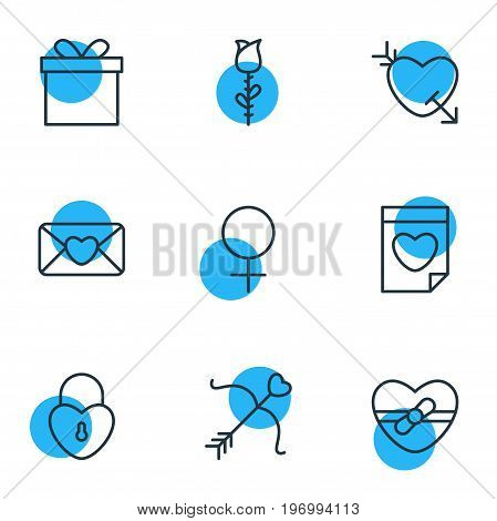 Editable Pack Of Valentine, Rose, Present And Other Elements.  Vector Illustration Of 9 Love Icons.