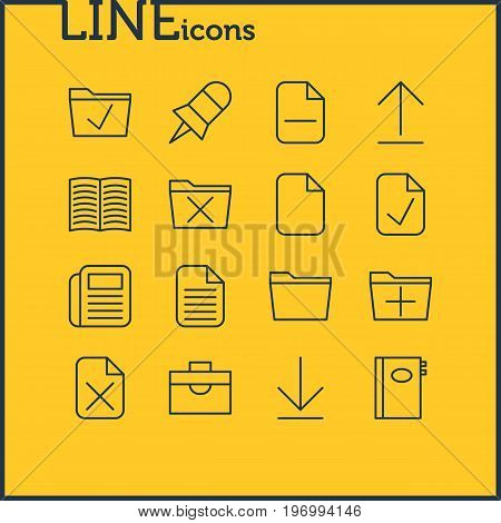 Editable Pack Of Approve, Add, Install And Other Elements.  Vector Illustration Of 16 Workplace Icons.