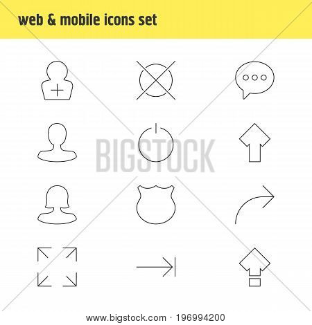 Editable Pack Of Cancel, Upward, Tabulation Button And Other Elements.  Vector Illustration Of 12 User Icons.