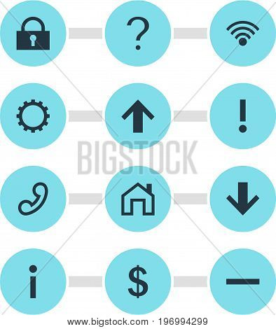 Editable Pack Of Mainpage, Alert, Padlock And Other Elements.  Vector Illustration Of 12 User Icons.
