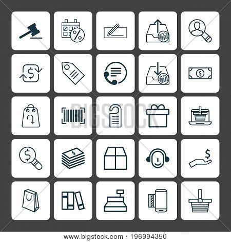Commerce Icons Set. Collection Of Outgoing Earnings, Rich, Handbag Elements