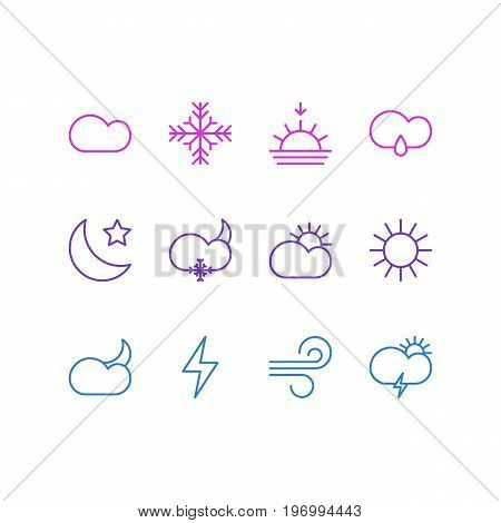 Editable Pack Of Lightning, Crescent, Windstorm And Other Elements.  Vector Illustration Of 12 Weather Icons.