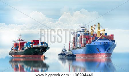 Logistics and transportation of International Container Cargo ship with tugboat in the ocean Freight Transportation Shipping