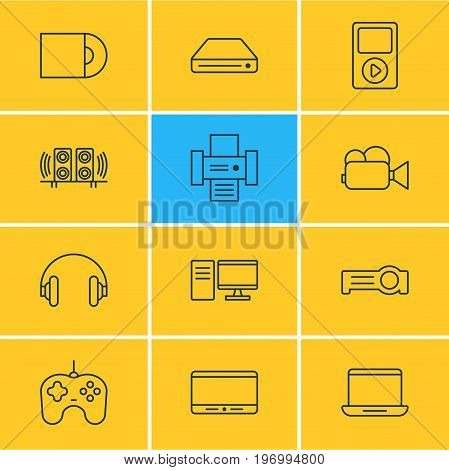 Editable Pack Of Headset, Loudspeaker, Floodlight And Other Elements.  Vector Illustration Of 12 Hardware Icons.