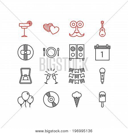 Editable Pack Of Sundae, Date Block, Engagement And Other Elements.  Vector Illustration Of 16 Banquet Icons.